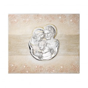 Pannello sacra famiglia in lastra bassorilievo argento 925 e swarovski