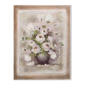 Quadro in legno acca con vaso di fiori e farfalle in bassorilievo in argento 925