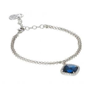 Bracciale due fili Boccadamo con cristallo blue montana