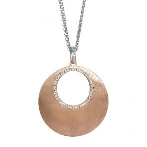 Collana Boccadamo in bronzo placcato oro rosa cerchio convesso