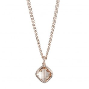 Collana donna Boccadamo in bronzo placcato oro rosa e pietra color pesca